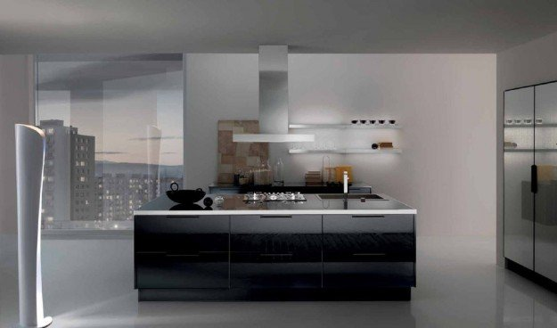 vista frontale di una cucina
