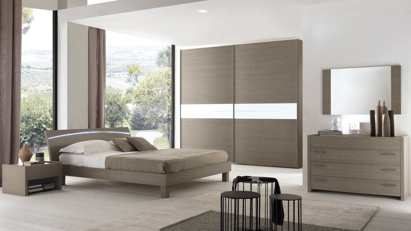 camera da letto con mobili il legno
