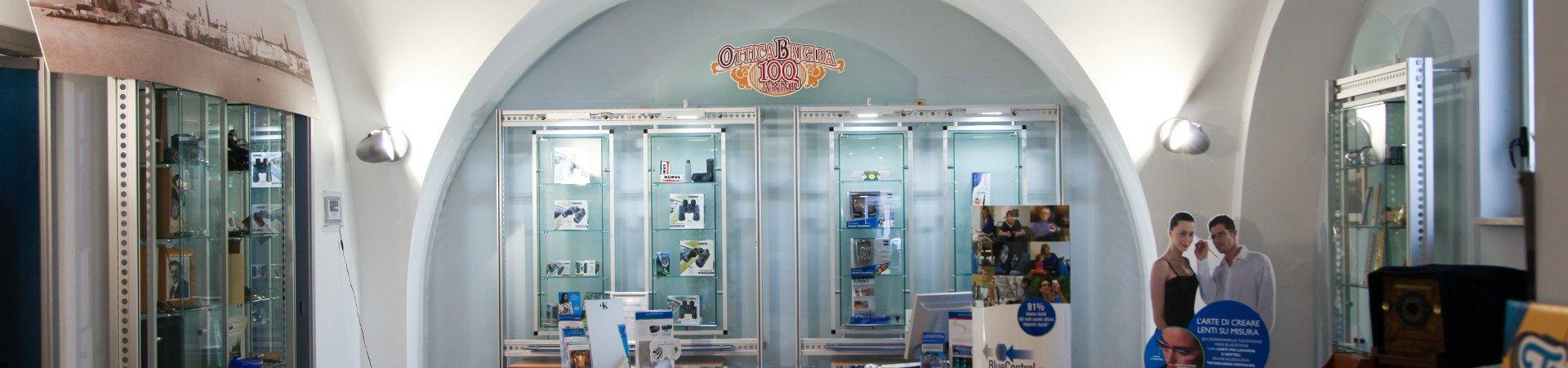 Shot from inside the Ottica Brigida store.