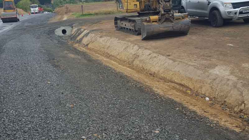 An example of a highway swale drain