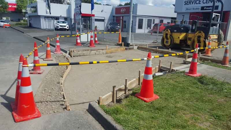 Prepped concrete vehicle crossing