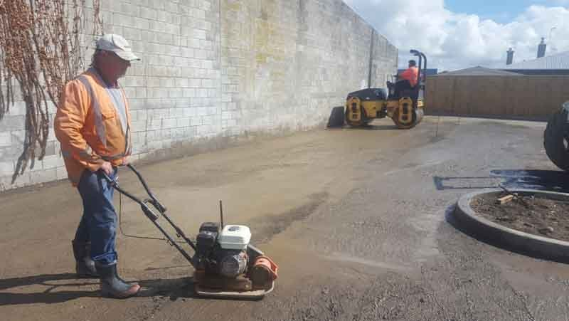 Prepping a commercial car park for asphalt.