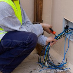 cornford electrics electrician working with wires