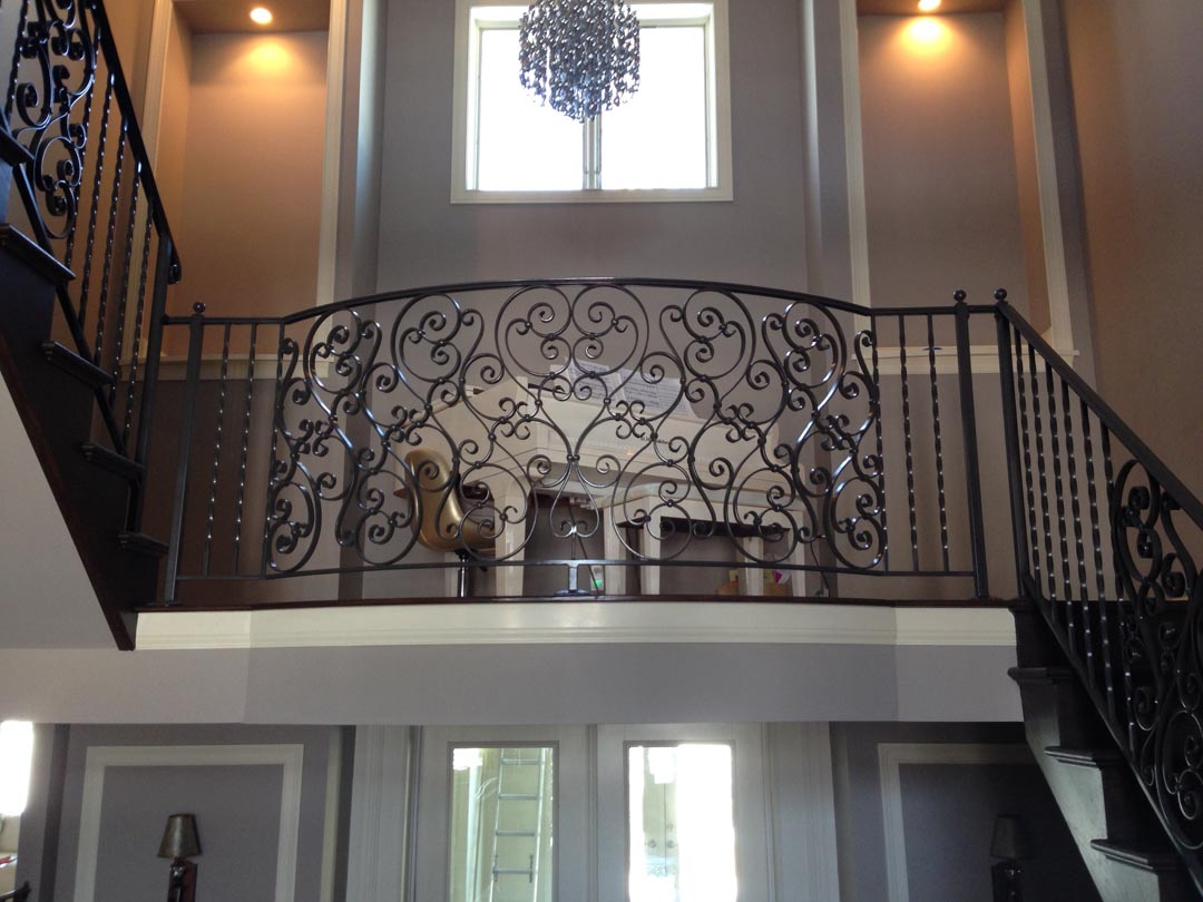 Ornamental railing panels - Twisted Balusters With Ornate Scrollwork Panel Bowed Balcony Railing
