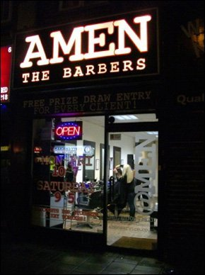 Amen The Barbers on an evening