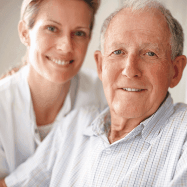Aldersgate Village Skilled Nursing Nurse with elderly man