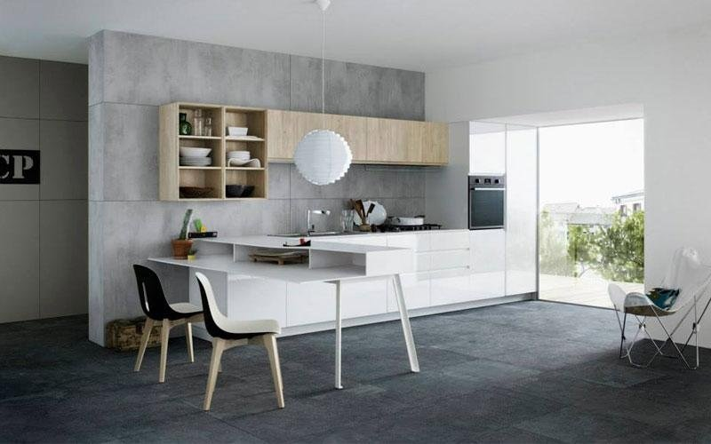 Affordable cucina con tavolo attaccato with cucine a ferro - Cucina a ferro di cavallo ...