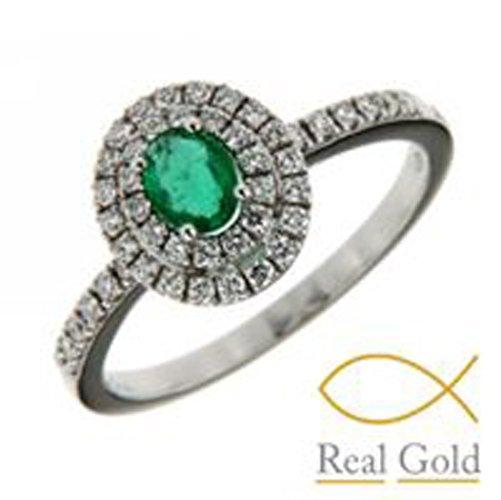 anello con smeraldo verde