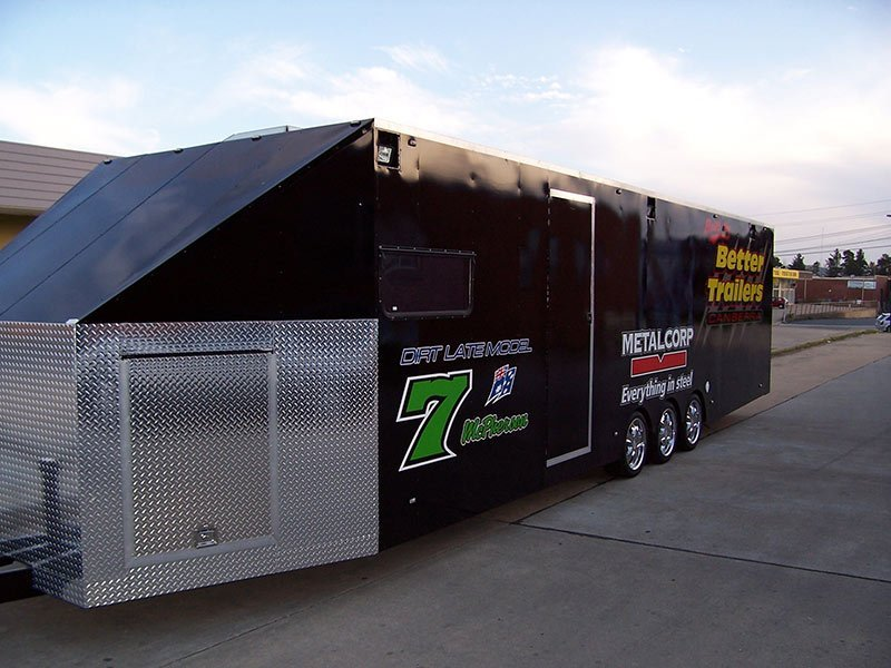 better trailers black trailer with banner side view