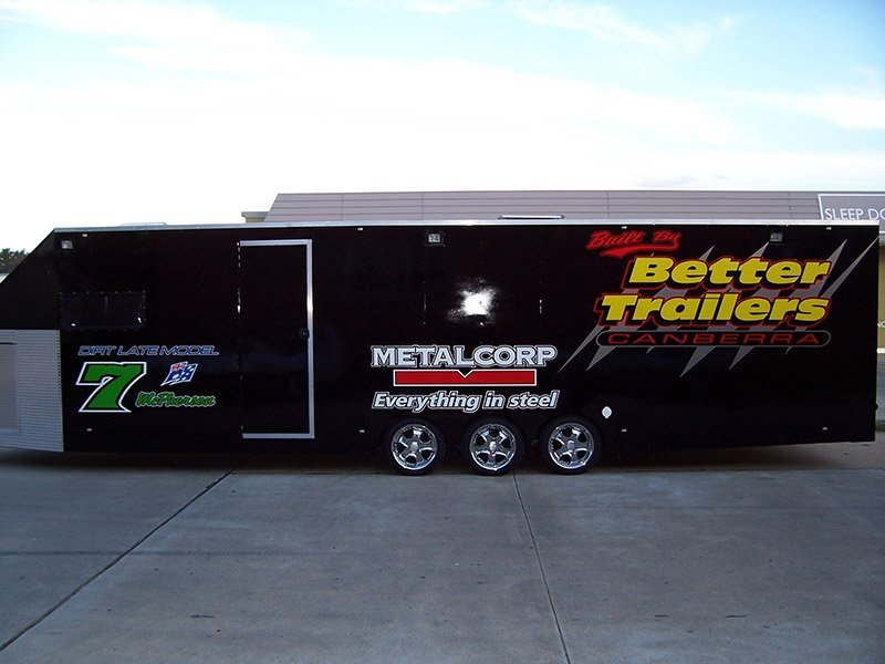 better trailers black trailer with banner side view with logo