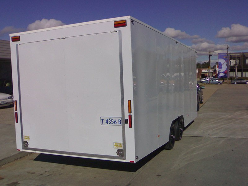 better trailers white trailer exterior rear side view