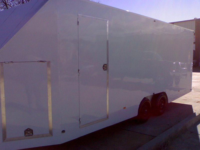 better trailers white trailer exterior side view