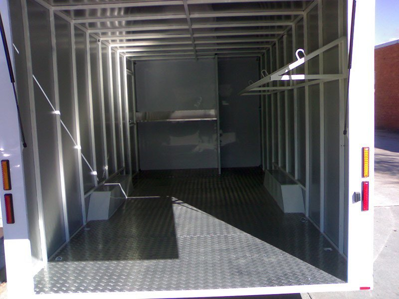 better trailers white trailer interior rear side view