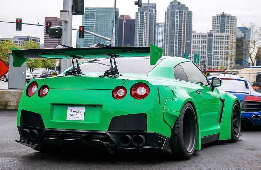 Green luxury sports car