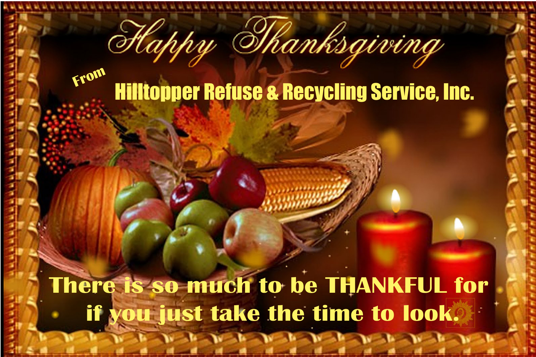 Think clean. Think green. Think Hilltopper Refuse & Recycling Service, Inc.!