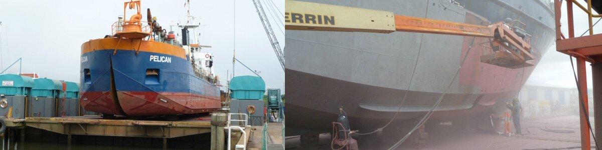southern marine shiplift pty ltd workers fixing ship