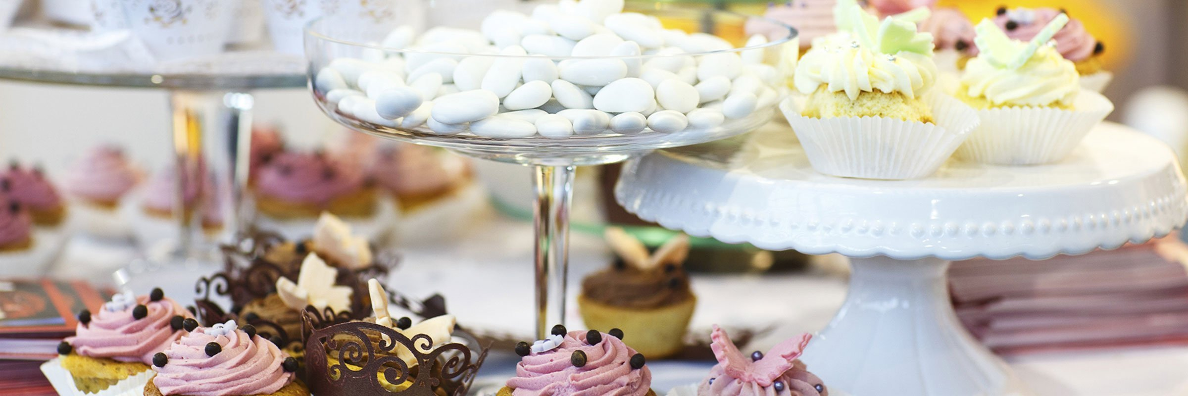 temptations catering pasteries arranged neatly in a table
