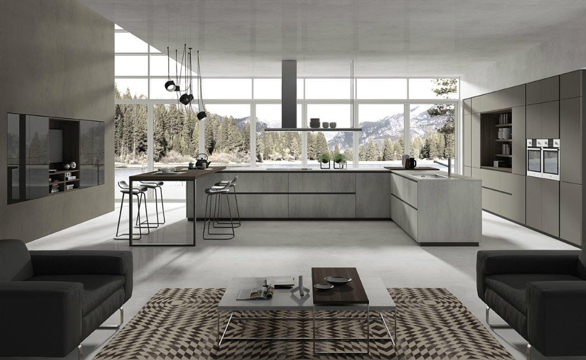 un cucina in legno di color avorio