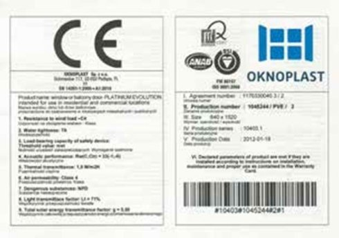 Oknoplsat - Certificato