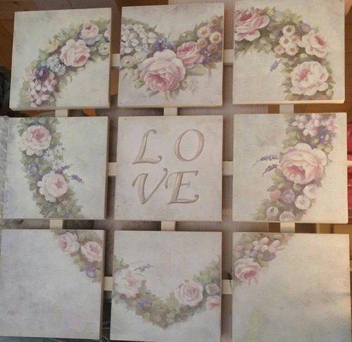 complemento d'arredo - pannelli a formare un cuore con scritto