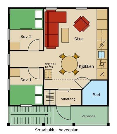 Planløsning til leiligheten Smørbukk - Sjumilskogen booking Trysil