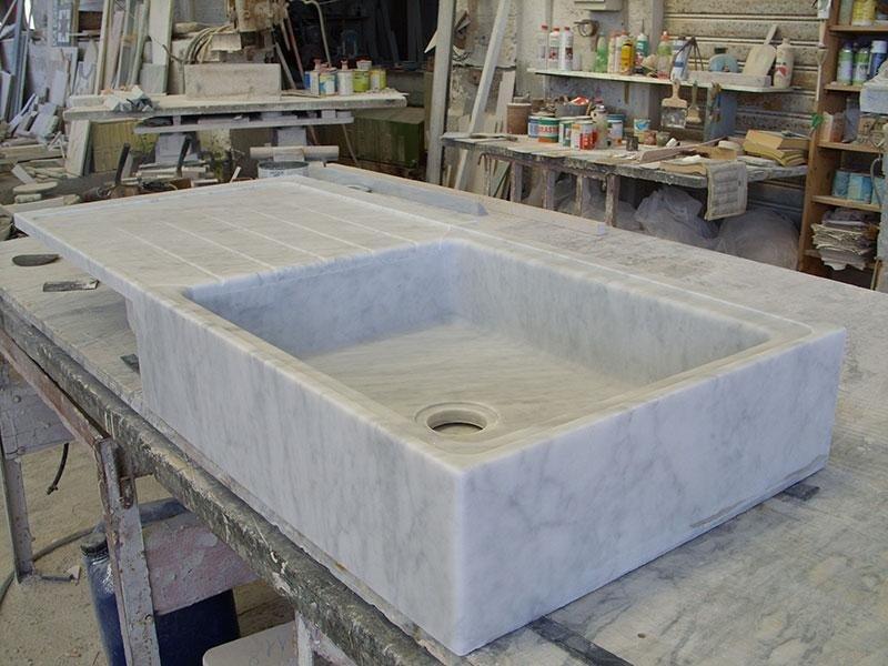 lavello in massello bianco carrara