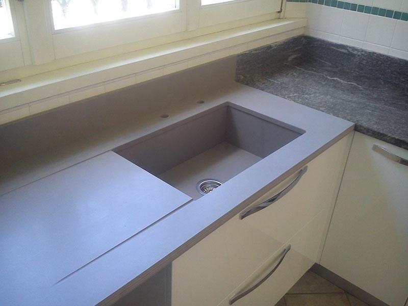 lavello  in quarzite grigia vasca scatolata