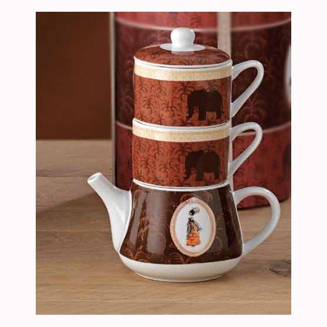 una teiera con sopra delle tazze infilate din color marrone e bianco