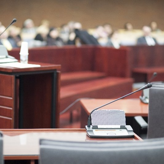 Court room where our attorneys provide legal defense
