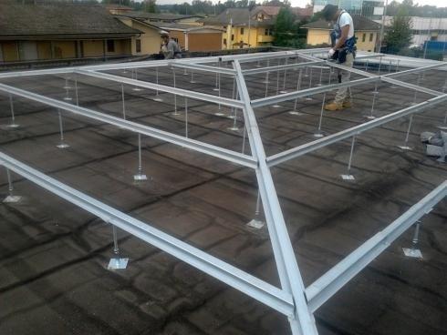 realizzazione di strutture metalliche a supporto delle nuove coperture con modifica delle inclinazioni