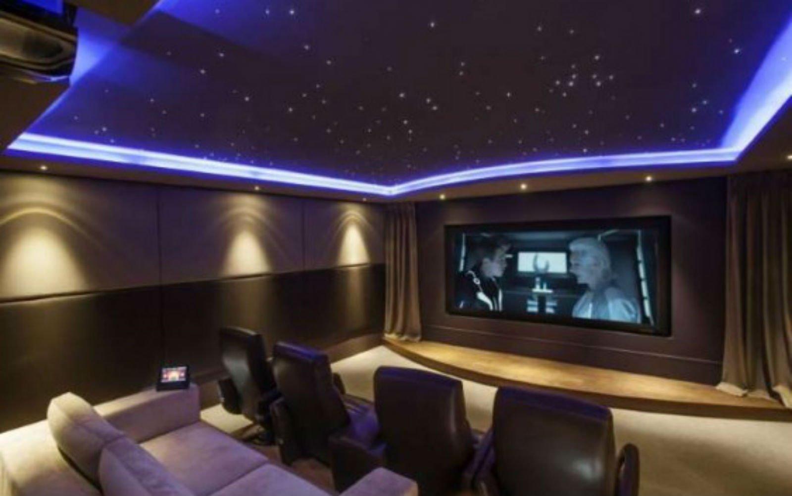 una sala con delle poltrone e un grande schermo