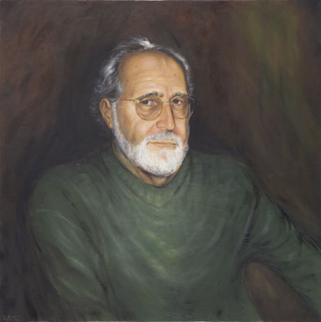 """Asher - """"After my husband died, when Eric called and asked what he could do for me, I asked him to paint a portrait of my husband.  The painting arrived as I was on my way to teach a class and decided not to take the time to open it until the evening.  By nighttime, I was excitedly removing its packing materials and steeling myself for what I anticipated would be disappointment – no one saw him the way you did, I warned myself, no one's version of him would match your own.  And then I eased it out of its plastic wrapping and held in my hands my husband. It was the first time since his death that I felt joy.  This stapled canvas held his face, it recreated the slight brown spot on his forehead, the crag of his cheek, the unruly white eyebrows, the intense look of his eyes. I held this rectangular version of him in my hands again, and shrieked """"You're home.""""  This was no mere painting to me; it was a piece of him."""" (Elizabeth Meyer)"""