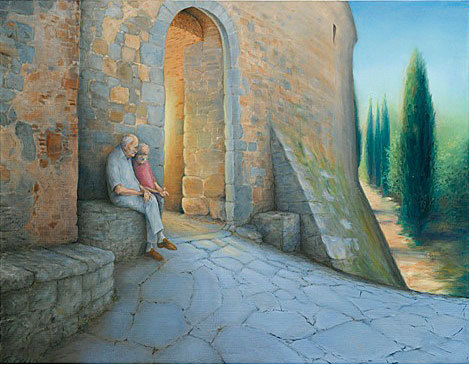 """Gargonza - Sunset on the interesting and beautiful Castello di Gargonza, Italy, inspired this multi-level """"sunsets""""."""