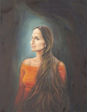Shlomit - A fortuitous encounter at a cinema led me to paint the portrait of this regal Israeli beauty.
