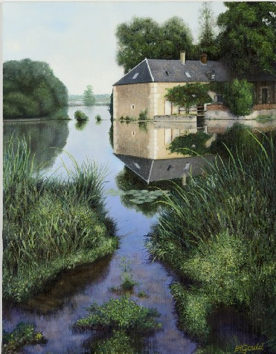 Thienval - I could not buy the watermill at Thienval, but at least I could paint it. The weir over the river made the place perfect for fishing and kept the water so still that it was difficult to differentiate between the real world and its reflexion.
