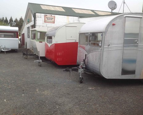 Motorhome standing in a row