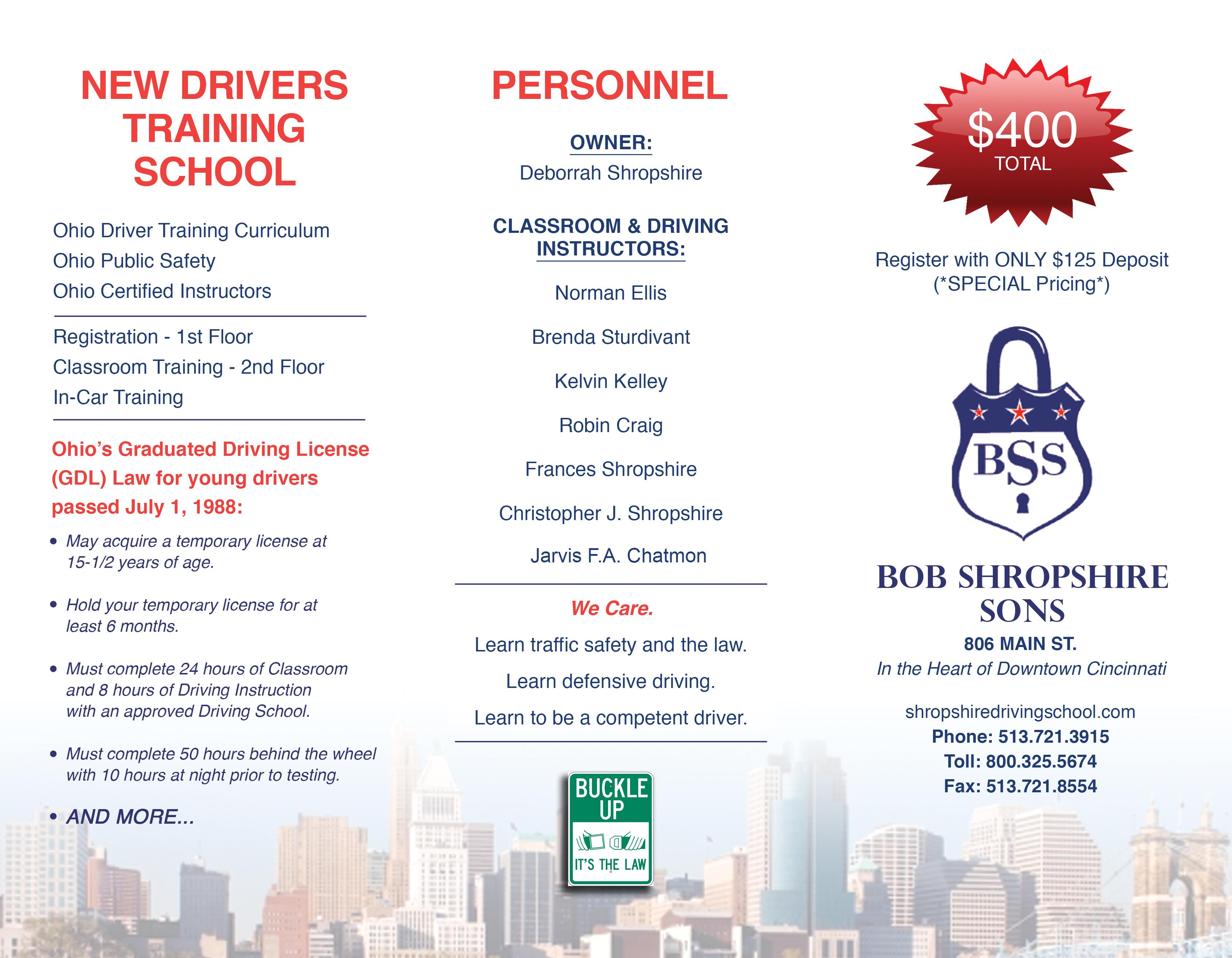 Bob Shropshire Driving School In Cincinnati Oh