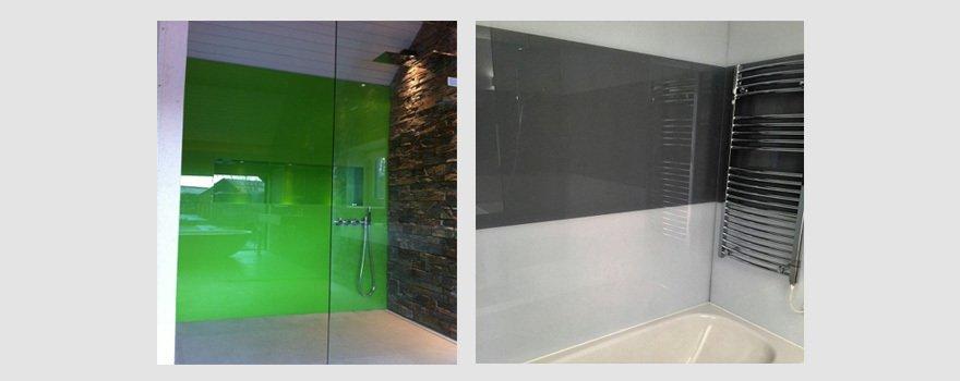 green and grey wall sized splashbacks