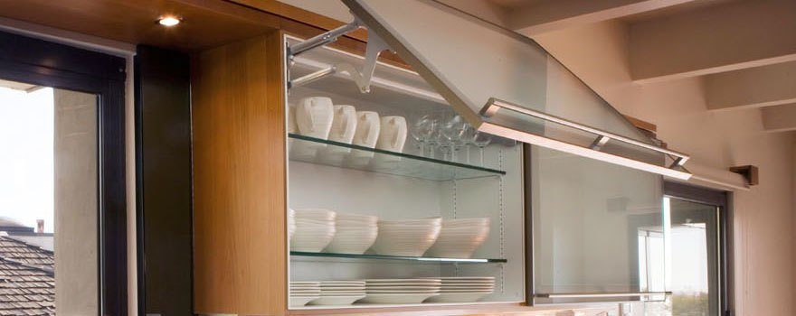 glass shelving and cupboard doors