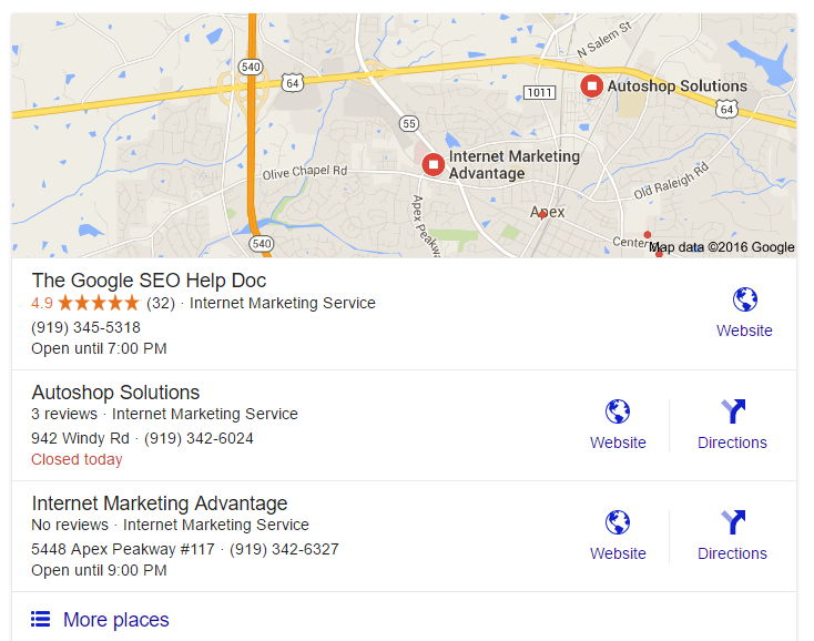 Local Search Pack Results for Internet Marketing Services near Apex, Cary, Holly Springs & Raleigh NC