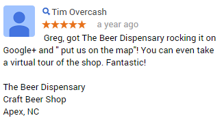 The Google Help Doc Review from The Beer Dispensary Apex NC
