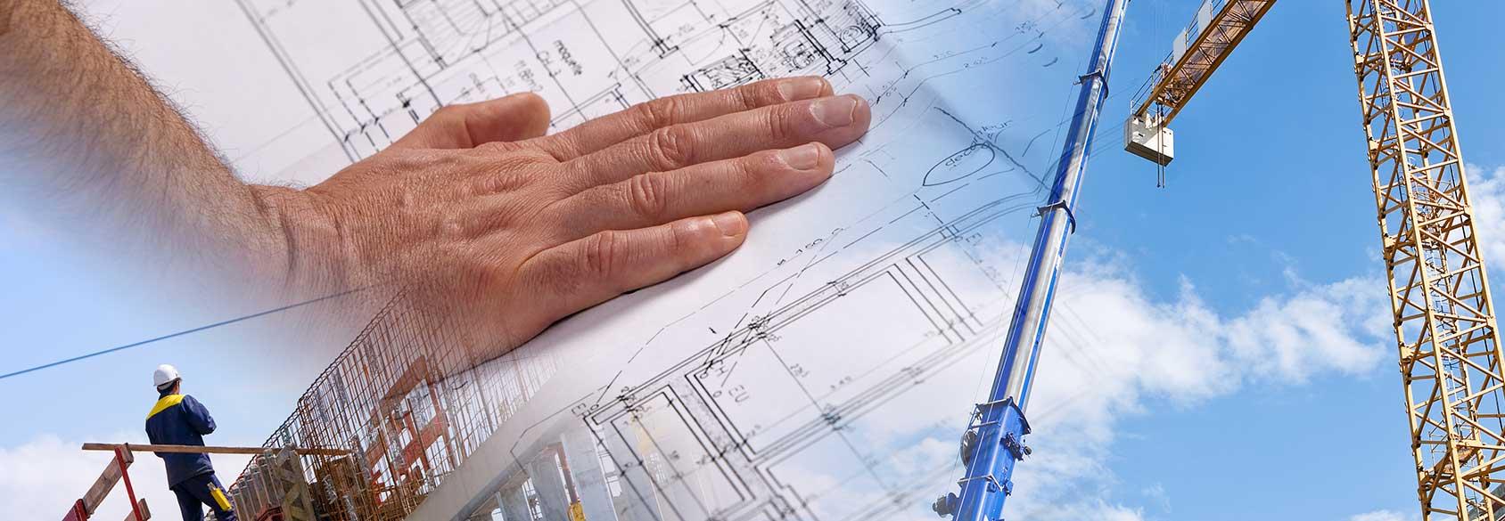 mano che poggi su un progetto edile e uomo in piedi su un pontile in fase di costruzione a Catania