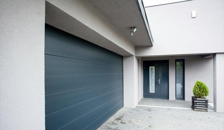 Large green garage door