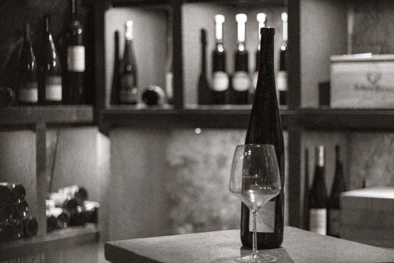 Bottle & Glass in Wine Cellar, San Antonio TX