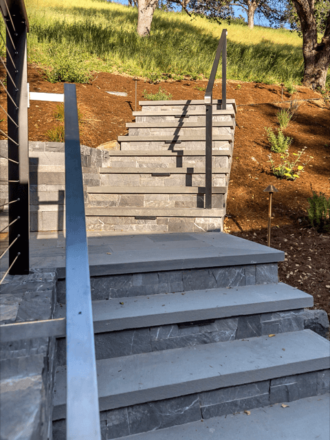stone steps with landscaping