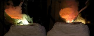 colata metallo fuso nella forma cotta