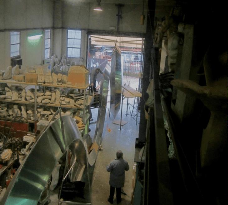 bottega artigiana vista dall`alto