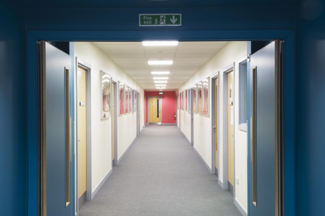 school corridor with doors
