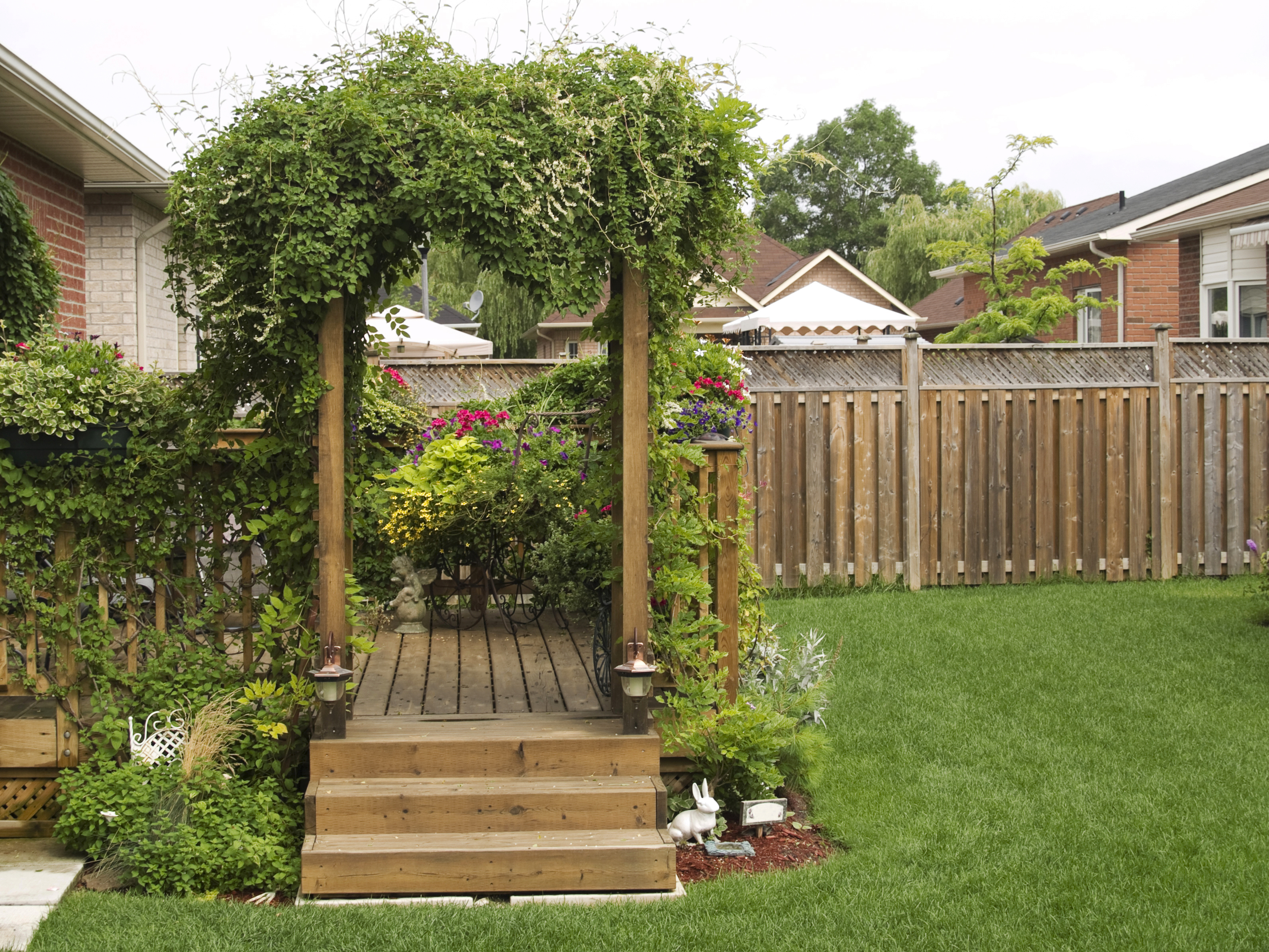 garden with wood fence