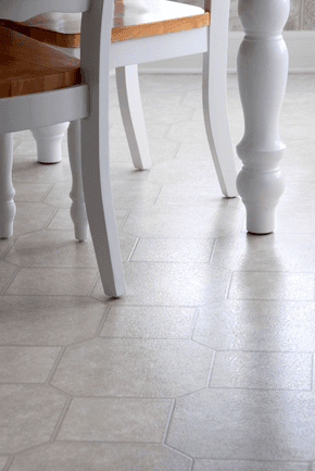 Vinyl flooring suitable for kitchens and bathrooms